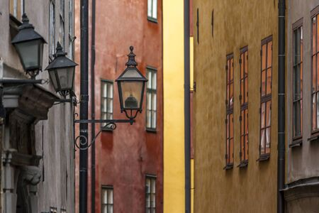 metal filament: Details of typical street lighting in the streets of Stockholm