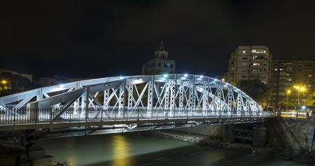 parabolic: Night photography of New bridge or Iron bridge.Murcia.Spain Stock Photo