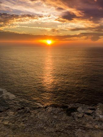 region of algarve: Beautiful sunset in the Algarve coast, ocean Atlantic, Portugal.