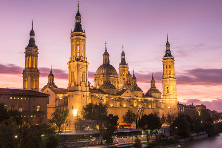 View of the basilica of Our Lady of Pilar, at sunset