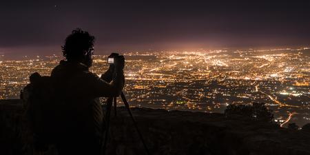 murcia: Photographer, photographing Murcia at night.Spain.