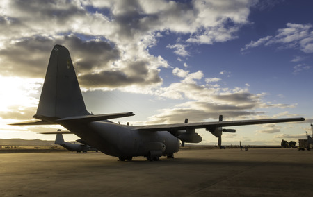 Photograph of a Hercules aircraft on land Stockfoto