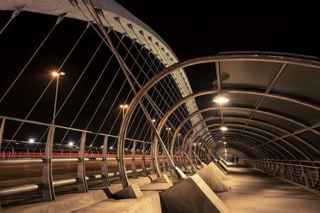 Night photography of  the Third Millennium Bridge, Zaragoza, Spain