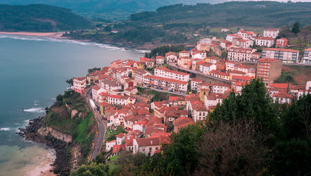 northern spain: View of the city of Lastres, Asturias.Spain.Photographs updated in March 2016