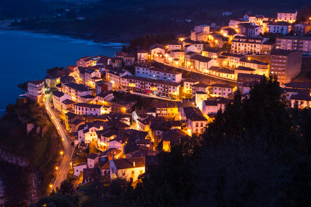 northern spain: View of the city of Lastres at nightfall .II Asturias.Spain.Photographs updated in March 2016 Stock Photo