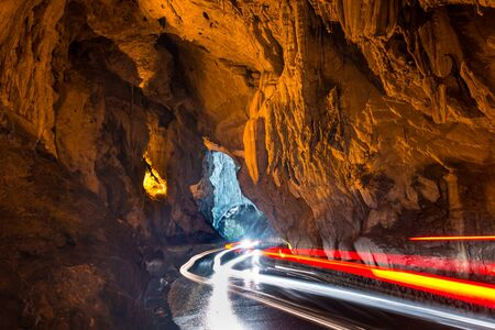 caving: Through this cave is the only access to the village of Cuevas del Agua, Asturias Stock Photo