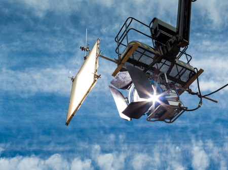 hertz: HMI daylight projector, hanging from a crane during a filming