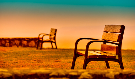 privileged: Bench in a privileged place to contemplate the sea Stock Photo