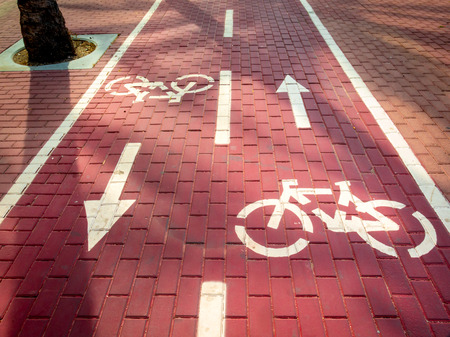 trafic: Bike way,paintings on the floor indicating two-way Stock Photo