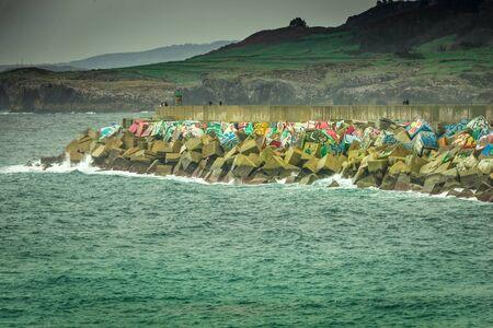 breakwaters: Cloudy day in breakwaters Memory cubes, Llanes, Asturias