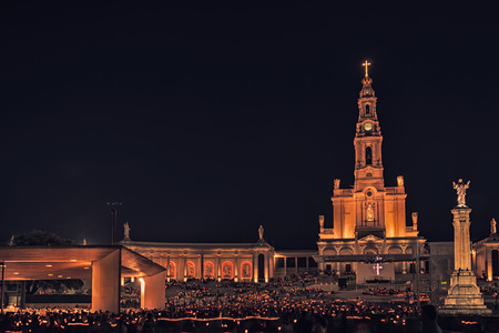 Night photograph of the Sanctuary of Fatima, altar of the catholic word.Portugal