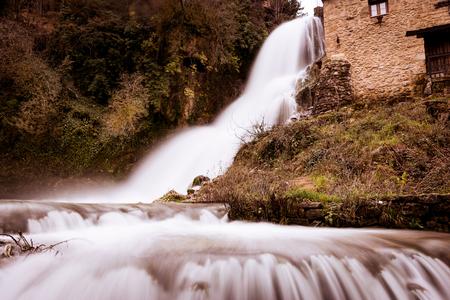 ebro: Cascade of Orbaneja del Castillo in winter.Burgos.Spain.