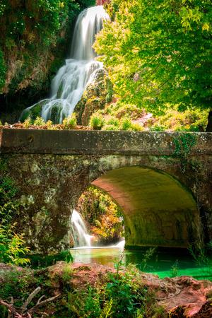 ebro: Cascade of Orbaneja del Castillo in spring.Burgos.Spain