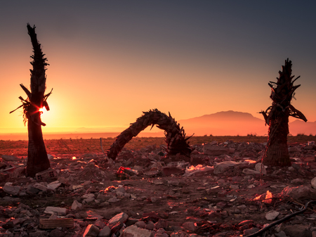 Sunrise over a desolate landscape of rubble landfill Stock Photo