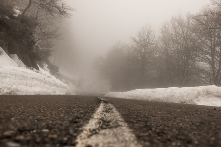 invaded: Road invaded by the fog, winter season