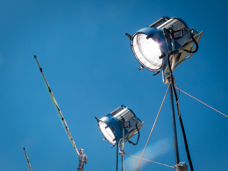 HMI daylight projector, hanging from a crane during a filming