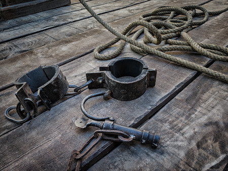 gruesome: Shackles, tool used in the Middle Ages to the deprivation of liberty Stock Photo