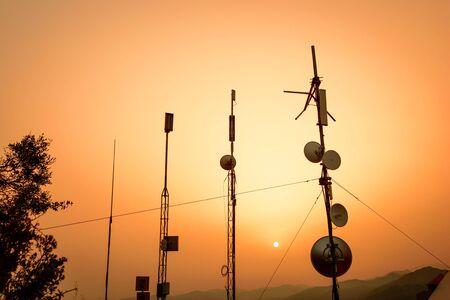 satelite: Communication and transmission tower Stock Photo