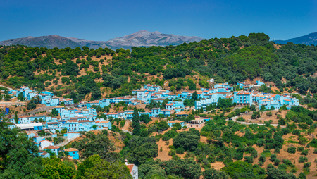 filming: Juzcar the Smurf village, famous village of Andalucia for the filming of the movie: The Smurfs.