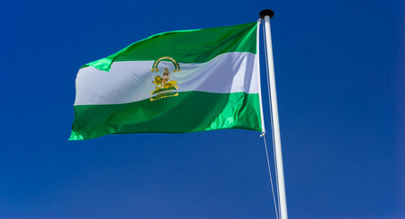 Flag of the autonomous community of andalucia.Spain. Stockfoto