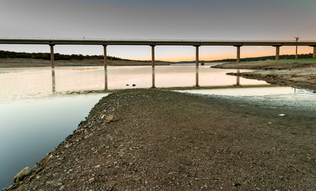 Valmayor reservoir, detail as water level low due to drought