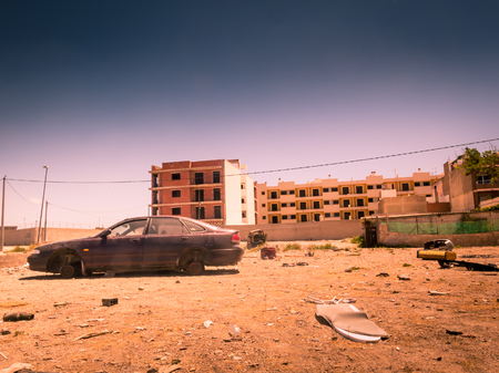Deserted and abandoned city due to war