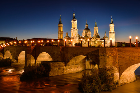 View of the basilica of Our Lady of Pilar, the Stone bridge and the Salvador cathedral
