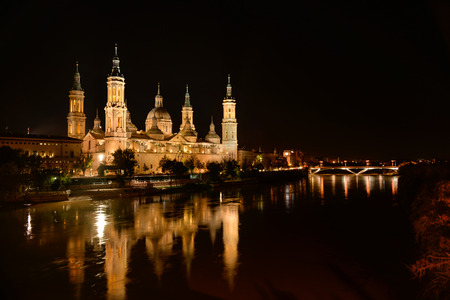 View of the basilica of Our Lady of Pilar at night