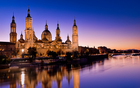 View of the basilica of Our Lady of Pilar at sunset Stockfoto