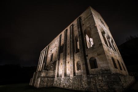 Catholic church of Santa Maria de Naranco at night.Oviedo.Spain