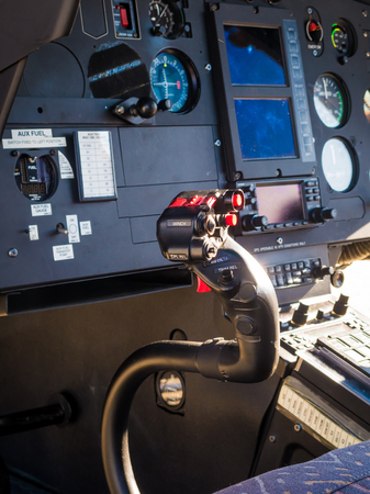 Pilot position of a helicopter. We observe all flight control commands. Stockfoto