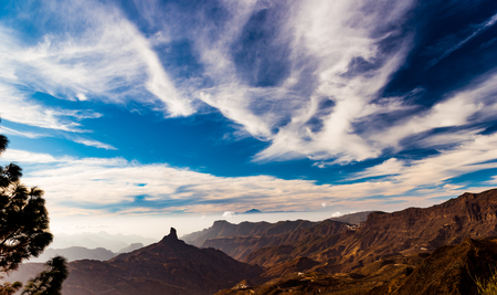 Roque Nublo Natural Monument, (Gran Canaria Island) and Teide Volcano (Tenerife Island, Spain.