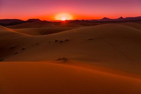 Sunset in the dunes of Erg Chebbi, Sahara Desert, Morocco