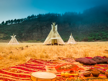 Teepees tent camp, home of the ancient Native Americans 스톡 콘텐츠