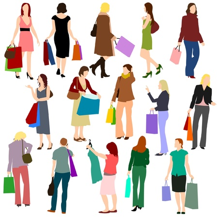 Illustrations of women shopping