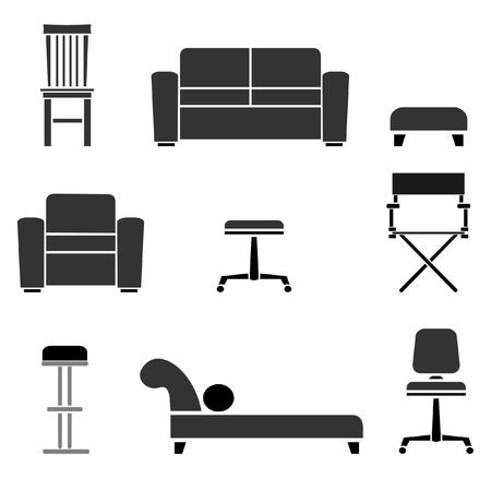 Set van stoelen, banken en krukjes illustraties