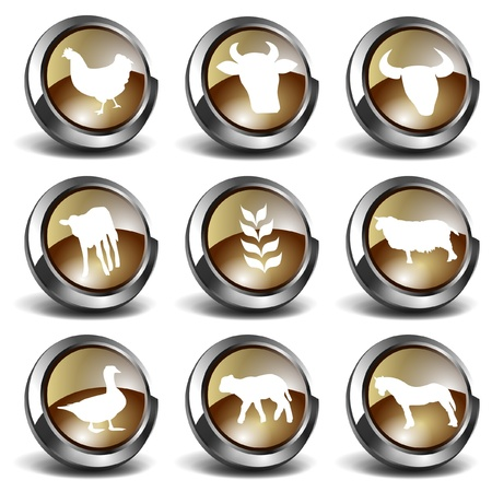 3D Farm Icons Stock Vector - 9604034