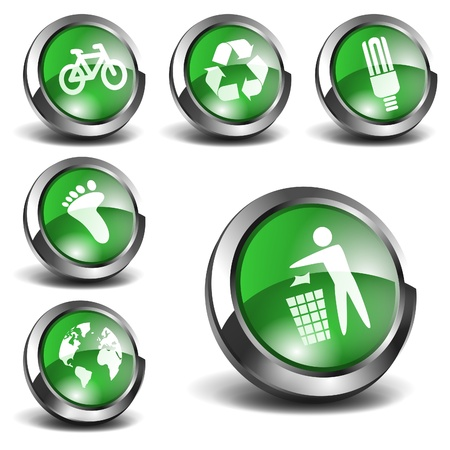 rubbish bin: 3d Green Icons Set 01
