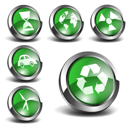 3d Green Icons Set 02 Illustration
