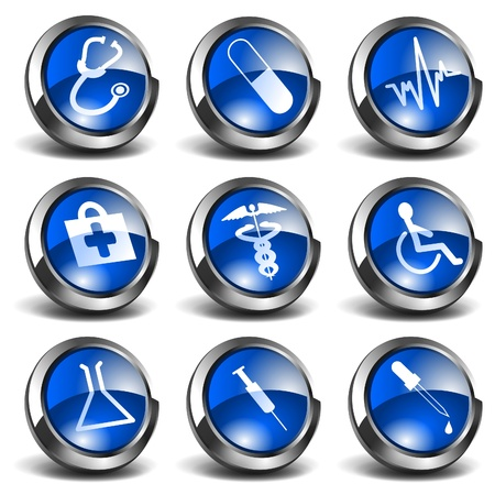 3D Health and Medical Icons Set 01 Vector