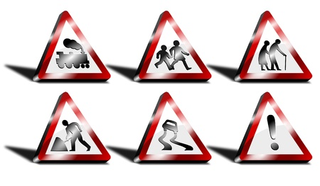 3d triangle: 3d triangle road signs Illustration