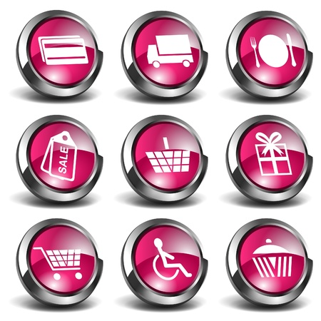 3D Shopping Icons Stock Vector - 9678483