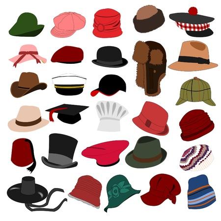 kapelusze: Partie kapelusze ustawić 04 Ilustracja