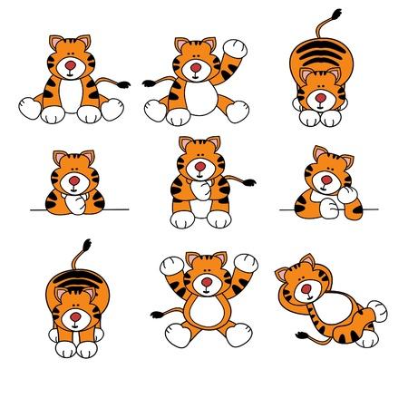 Cute Tiger Cartoon Set Vector