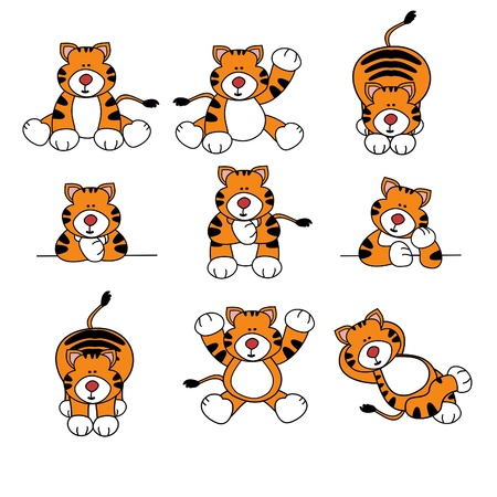 cubs: Cute Tiger Cartoon Set