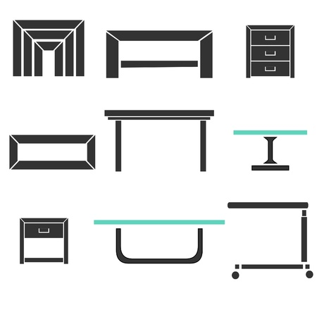table surface: Modern Tables Set Illustration