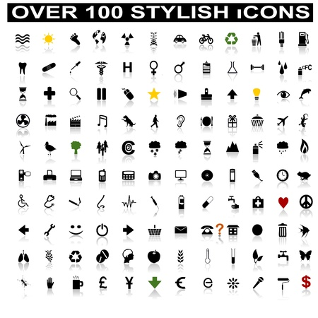 Over 100 Stylish Icons with Shadow Reflections Vector