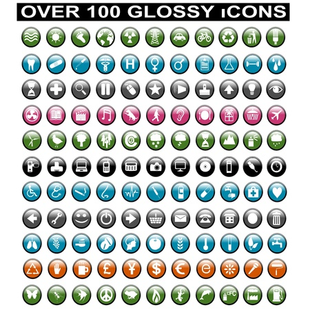 Over 100 Glossy Icons Vector
