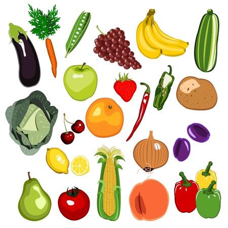 sweet corn: Fruit and Vegetable set Illustration