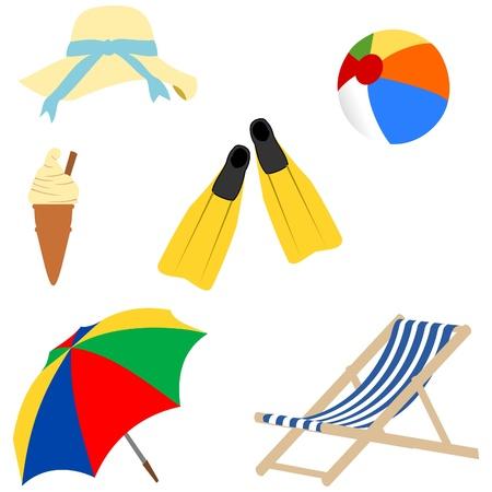 sun shade: A day at the beach Illustration